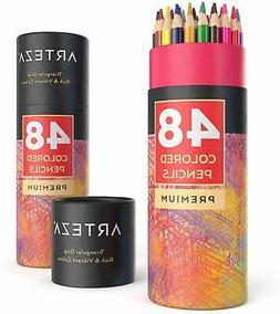 ARTEZA Colored Pencils Set, 48 Colors with Color Names, Tria