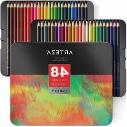 ARTEZA Professional Colored Pencils, Set of 48 Colors, Soft