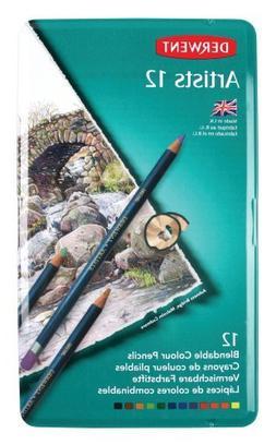 Derwent Artists Colored Pencils, 4mm Core, Metal Tin, 12 Cou