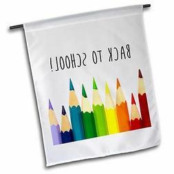"3dRose Back to School Color Pencils Polyester 1'6"" x 1' Gard"