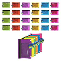 BAZIC Bright Color 3-Ring Pencil Pouch w/ Mesh Window - 24 P