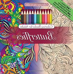 Butterflies Adult Coloring Book Set With 24 Colored Pencils