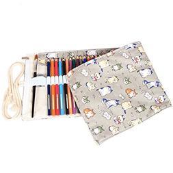 Damero Canvas Pencil Wrap Roll 48 Slots, Travel Drawing Colo