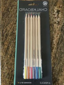 U Brands Chalkboard Colored Pencils Assorted Colors 6-Count