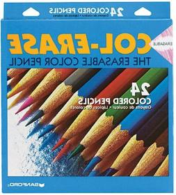 Col-Erase Colored Woodcase Pencils w/ Eraser  24 Assorted Co