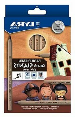 LYRA Color-Giants Unlacquered Colored Pencils, 6.25mm Cores,