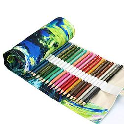 Coideal Colored Pencil Holder Case/ 72 Slots Canvas Wrap Hol