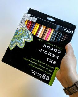 Colored Pencil Set - 48-Pieces - Pre-Sharpened 0.3mm Lead -