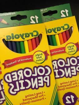 Lot Of 2 Packs! Crayola Colored Pencils 12 Pack Nontoxic 24
