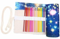 Coideal Colored Pencils Case Wrap Roll Up Holder Pouch For A