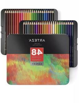 Arteza Colored Pencils Professional Set Of 48, Soft Wax Base