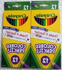 CRAYOLA COLORED PENCILS~SET OF 2-12 COUNT~TOTAL 24 COLORED P