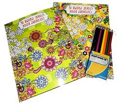 Set of 2 Adult Coloring Books with Colored Pencils Grown up