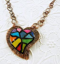 Copper Colored Pencil and Resin Heart Pendant Necklace