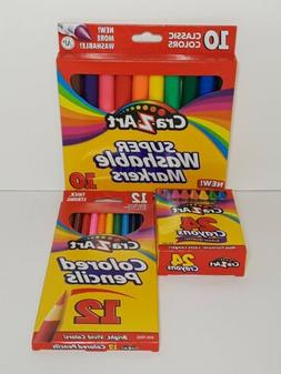 Cra-Z-Art 10 Super Washable Markers 12 Colored Pencils And 2