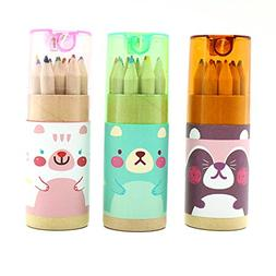 HUELE Pack of 3 Cute Cartoon Bear Mini Drawing Colored Penci