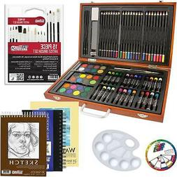 US Art Supply 82 Piece Deluxe Art Creativity Set in Wooden C