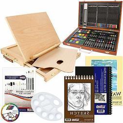 82 Piece Deluxe Art Set in Wooden Case, Desk Easel & BONUS 2