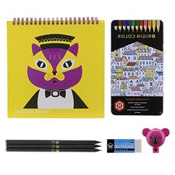 Drawing Kit with 12 Colored Pencils, Koala Sharpener, Sketch
