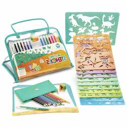Drawing Stencils and Colored Pencils Arts and Crafts Set, 26
