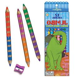eeBoo Dinosaur Jumbo Double Sided Colored Pencils, 6 pencils