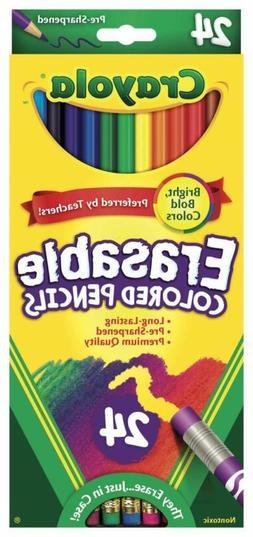Crayola Erasable Colored Pencils, 24 Non-Toxic, Pre-Sharpene