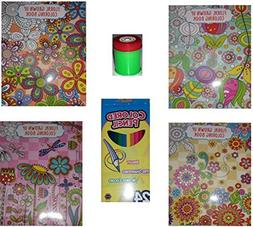 Floral Grown Up Coloring Book 4-Pack with 24-Ct Colored Penc