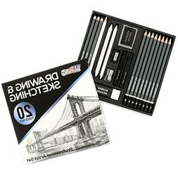 U.S. Art Supply 20 Piece Professional Hi-Quality Artist Sket