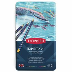 Derwent Inktense 12 Ink Pencil Tin Set, Factory Sealed!