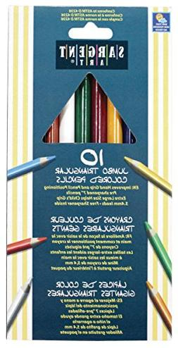 Sargent Art 22-7210 10-Count Jumbo Triangle Colored Pencils
