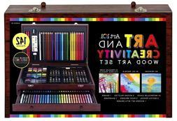Kids Colored Pencils Set 142 Pieces + WOODEN CASE DRAWER Box