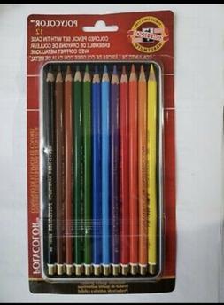 Koh-I-Noor Polycolor 12 pc Colored Pencil's Set w/ Tin Cas