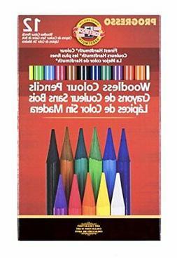 KOH-I-NOOR Progresso Woodless Colored 12-Pencil Set, Assorte