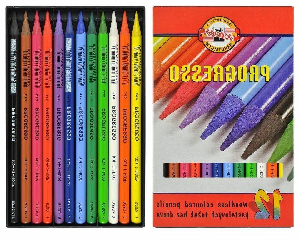 12 coloured progresso koh i noor pastel