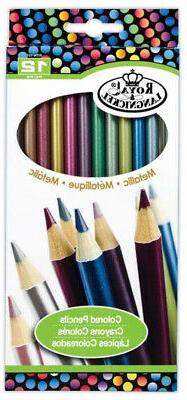 12 pc METALLIC COLOR Colored Pencils Drawing Set Sketching D