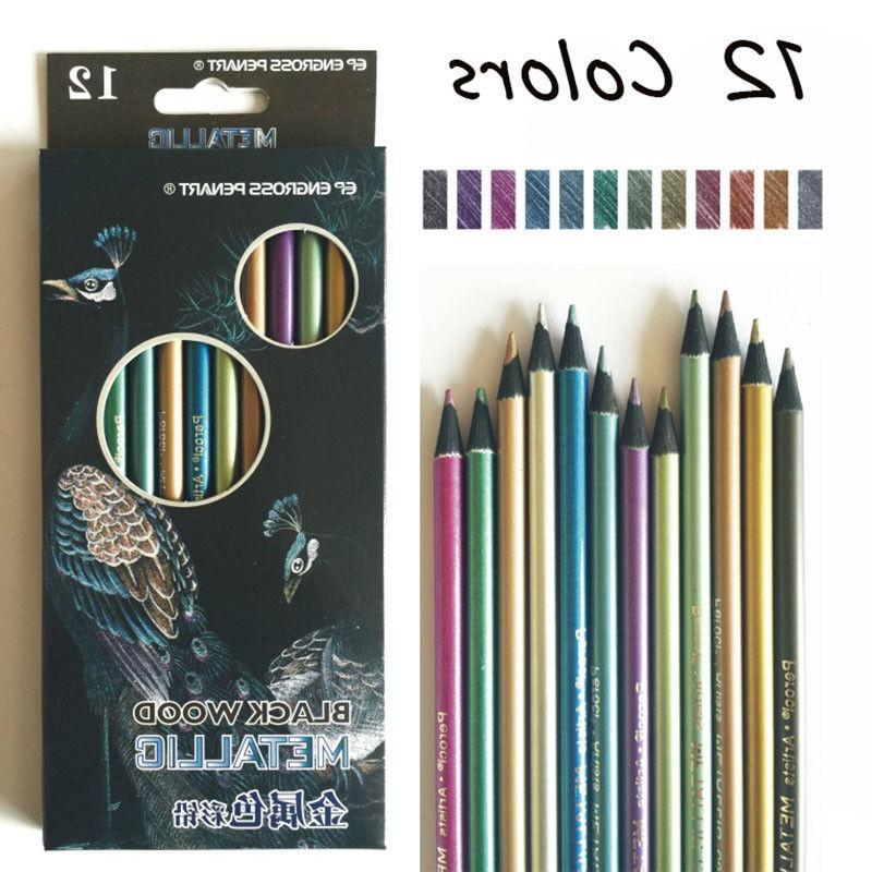 12 pcs metallic color drawing pencil 12