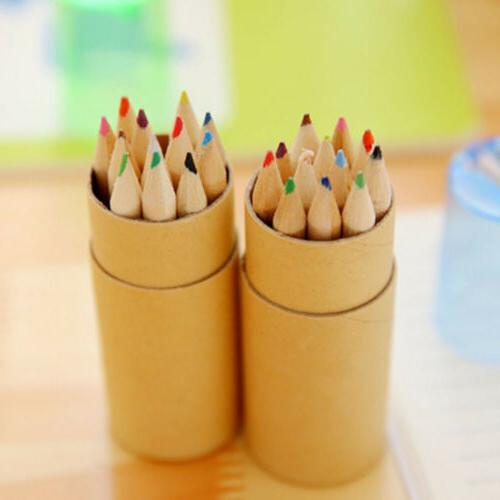 colored pencils with sharpener wooden writing painting