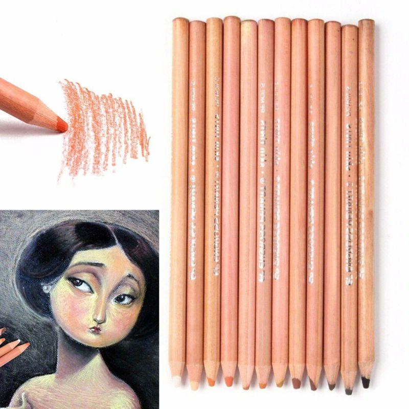 12Pcs Professional Soft Pastel Pencils Wood Skin Tint Pastel