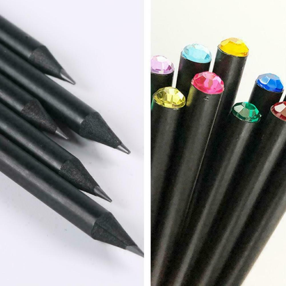 1 Pcs Black Wood HB Pencil With Colorful Diamond School Writ