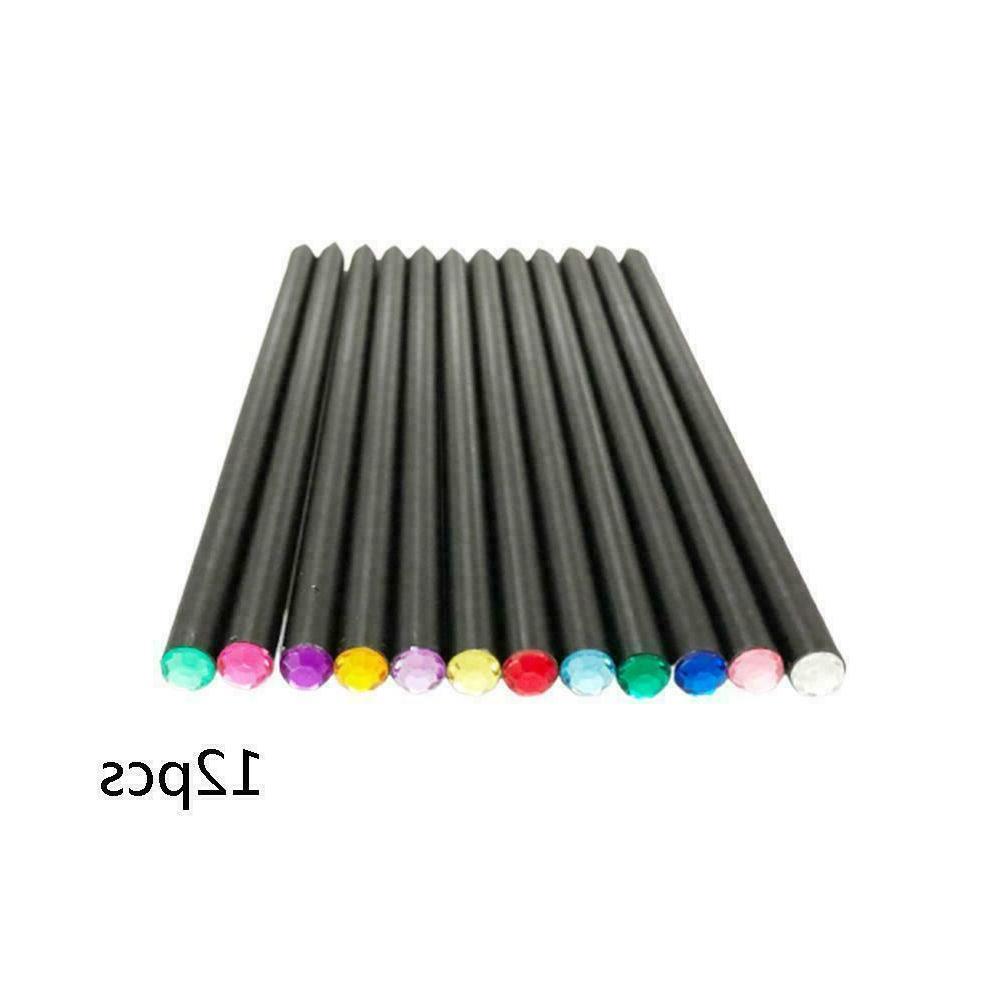 12PCS Wood HB Pencil With Colorful Diamond School Writing Pe