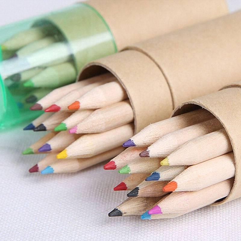 12Pcs Wooden Writing Pencils 12 Colors With Sharpener Stationary