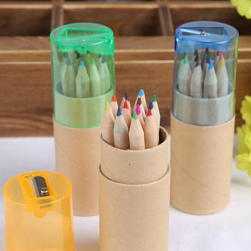 12Pcs Wooden Colored Sharpener Kids