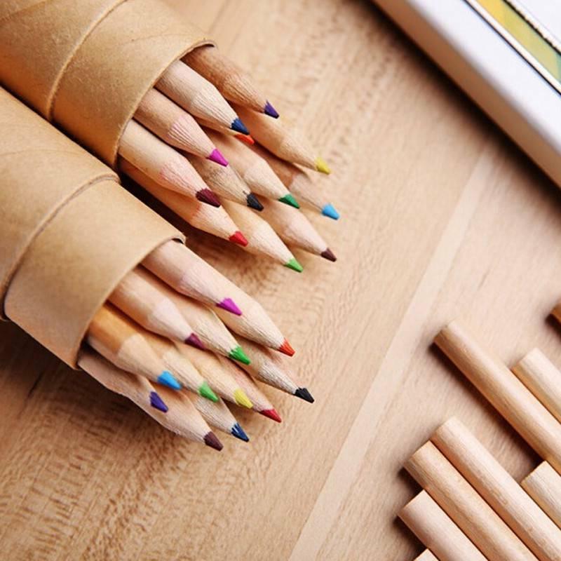 12pcs wooden writing colored pencils 12 colors