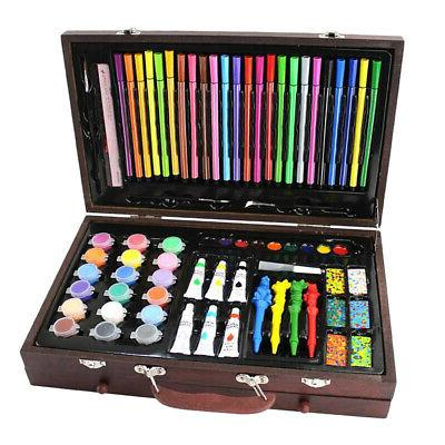 130x Deluxe Art Set Drawing Colored Pencils Acrylics