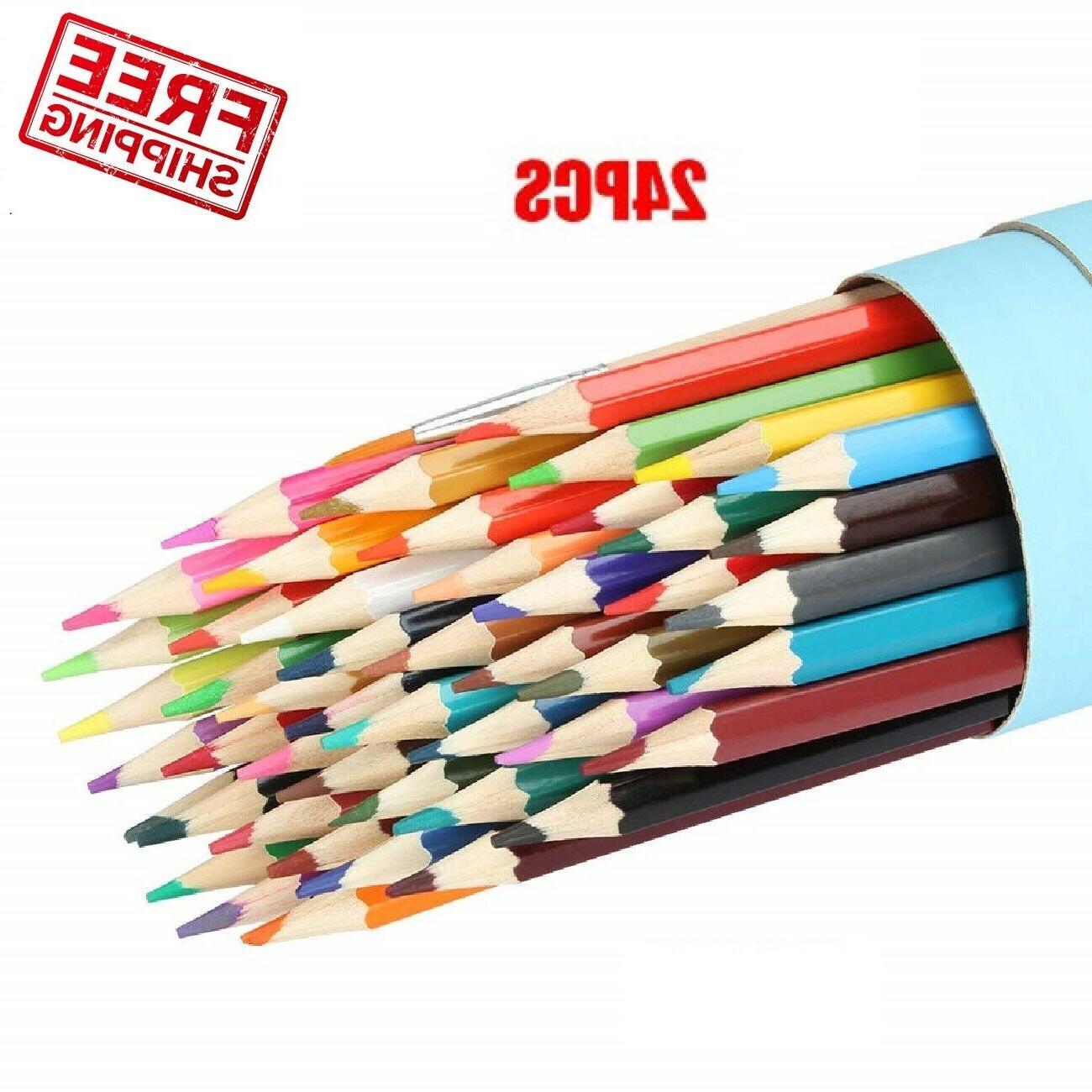 24 colored pencils set for kids adult