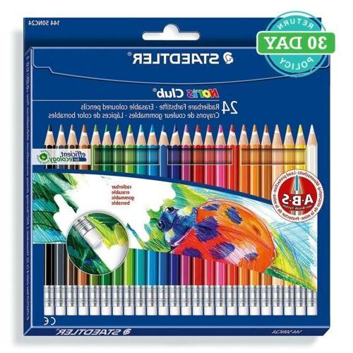 24 Pack Assorted Erasable Colouring Pencils Childrens Kids C