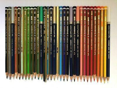 32 vintage colored pencils a w faber