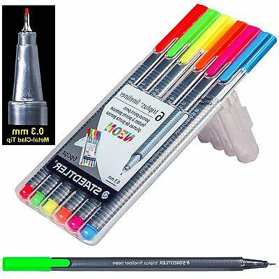 Staedtler 10014318 Fineliner Drawing Pens .3mm Neon 6 Count