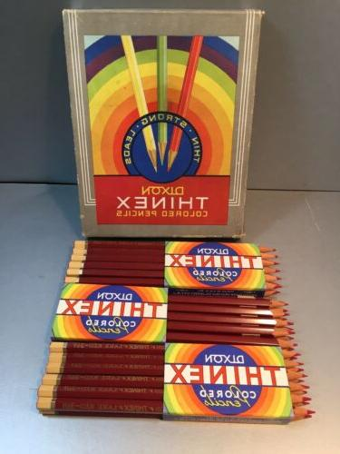 35 vintage thinex colored pencils lake red