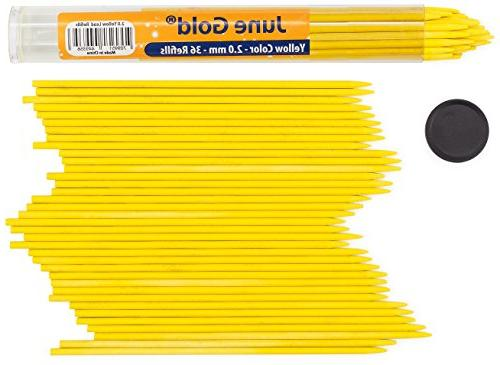 36 Yellow Colored Lead Refills 2.0 mm Extra Bold Thickness f